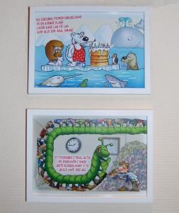 Sæt postkortene i enkeltrammer og hæng på væggen - gerne flere sammen. Eller stil billedet på en reol på barneværelset.